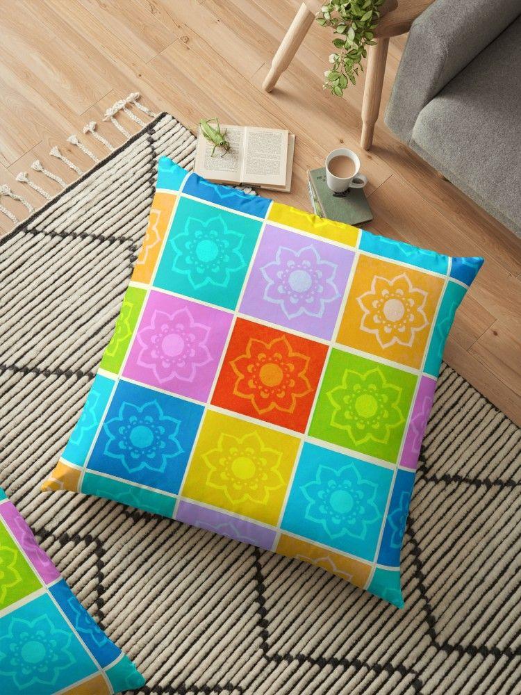 Bright floral print floor cushion, large pillows, floral pillows ...
