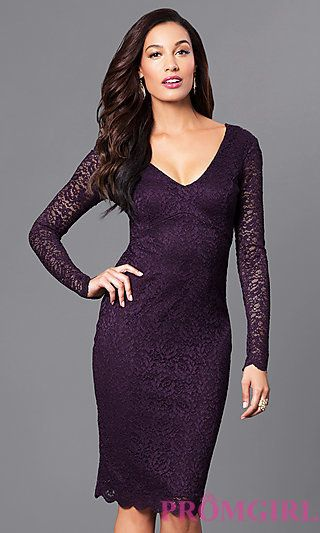 e5e29faa4f3d V-Neck Empire-Waist Short Lace Party Dress in 2019 | wedding ideas ...