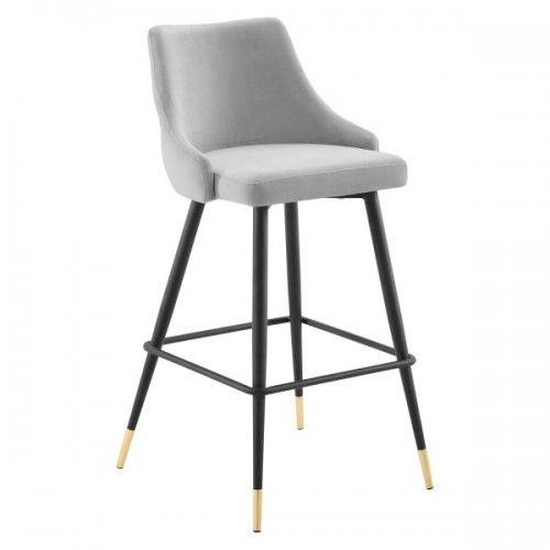 Light Grey Back Button Tufted Velvet Black Leg Counter Or Bar Stool In 2020 Bar Stools Upholstered Bar Stools Tall Bar Stools