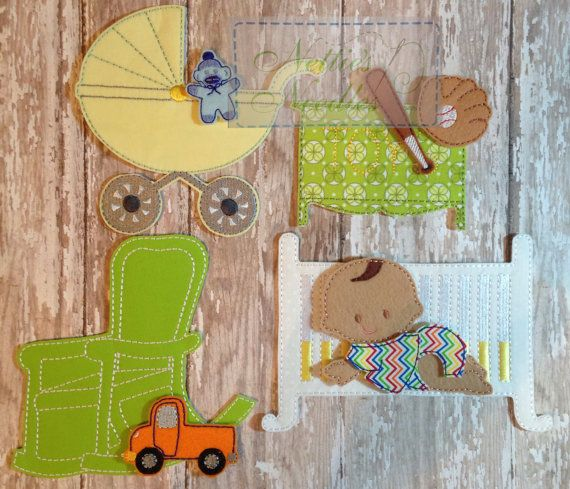 Felt Baby Boy Doll Nursery Set by NettiesNeedlesToo on Etsy, $46.00