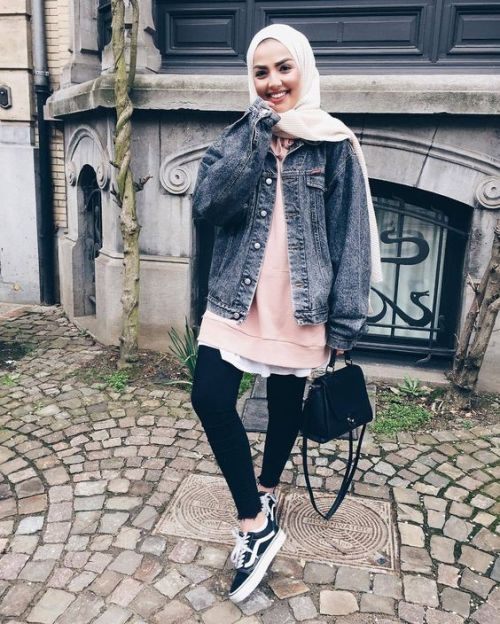 Denim jacket hijab look-Hijab trend spring fashion – Just Trendy Girls
