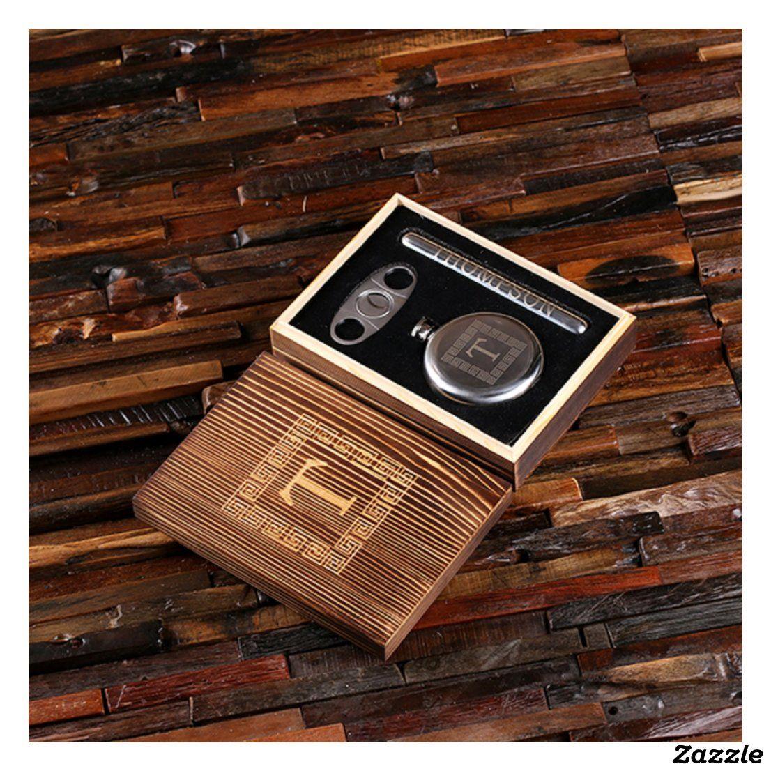 Classy cigar gift set holder cutter flask