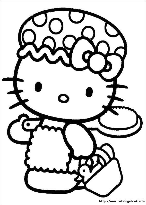 Hello Kitty Going To The Beach Coloring Page
