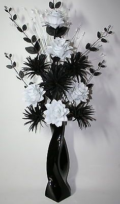 Artificial silk flower arrangement black white in large black vase artificial silk flower arrangement black white in large black vase 85cm high mightylinksfo