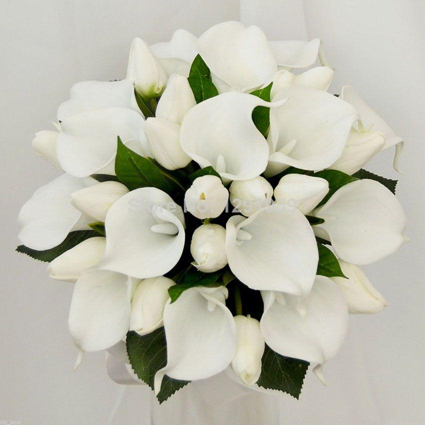 25cm 9 8 Diameter White Pu Tulip Calla Lily Green Leaves