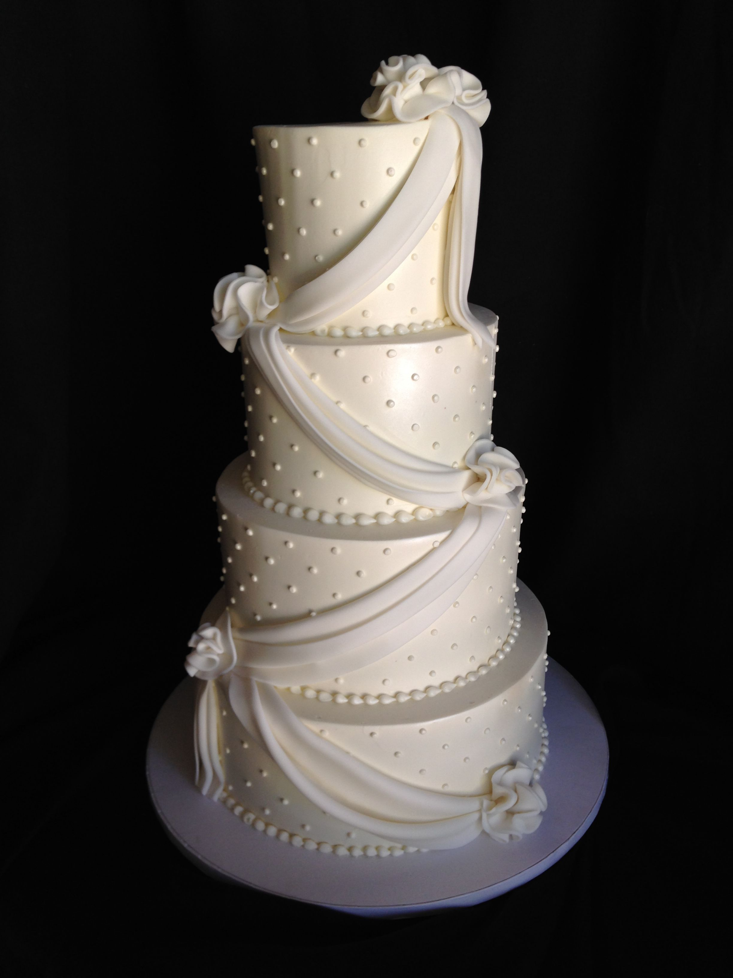 Wedding Cake; Simple White; Fondant Swags and Swiss Dotting