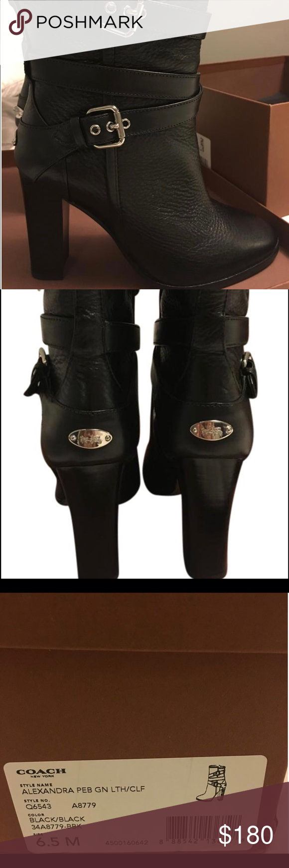 """Alexandra Women's Mid-Calf Leather Boots Beautiful boots and style. Only worn once.     Shaft=8""""  Circumference = 12.5""""  Heel=3.75"""" Coach Shoes Heeled Boots"""