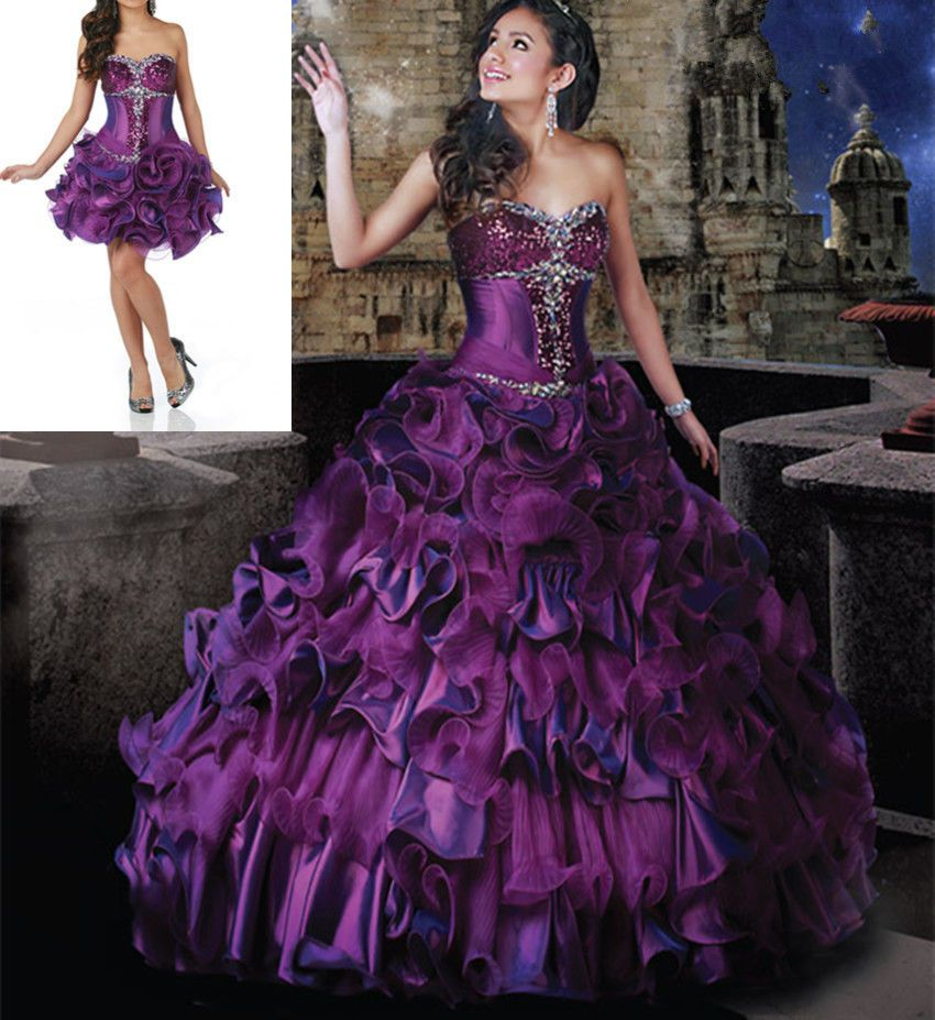 new purple shortlong prom dress ball gown quinceanera