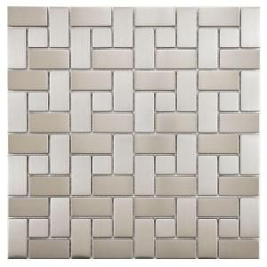 Merola Tile Meta Spiral 11 3 4 In X 11 3 4 In X 8 Mm Stainless Steel Metal Over Ceramic Mosaic Tile Mdxmssst Mosaic Wall Tiles Ceramic Mosaic Tile Porcelain Mosaic