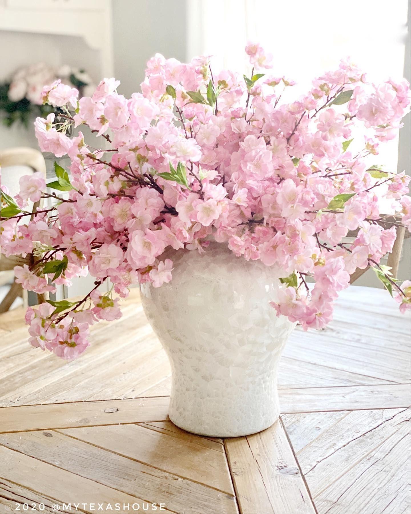 Pink Cherry Blossom Arrangement Fake Flowers Decor Pink Flower Arrangements Beautiful Flower Arrangements