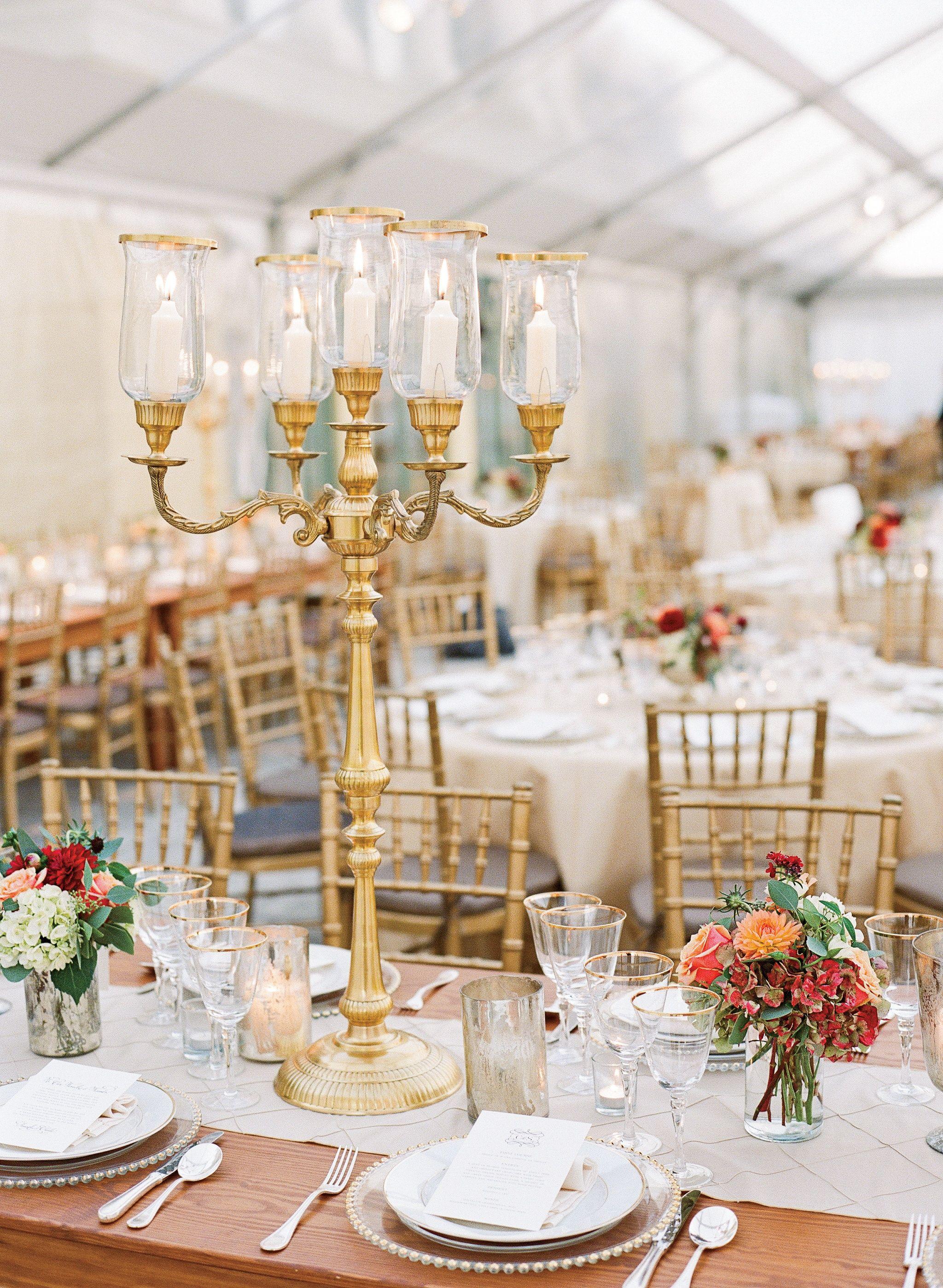 Yacht wedding decorations  Candelabra Centerpieces  Jen Fariello Photography  Theknot