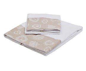 Coppia di spugne in cotone con cuori bianco - viso+ospite
