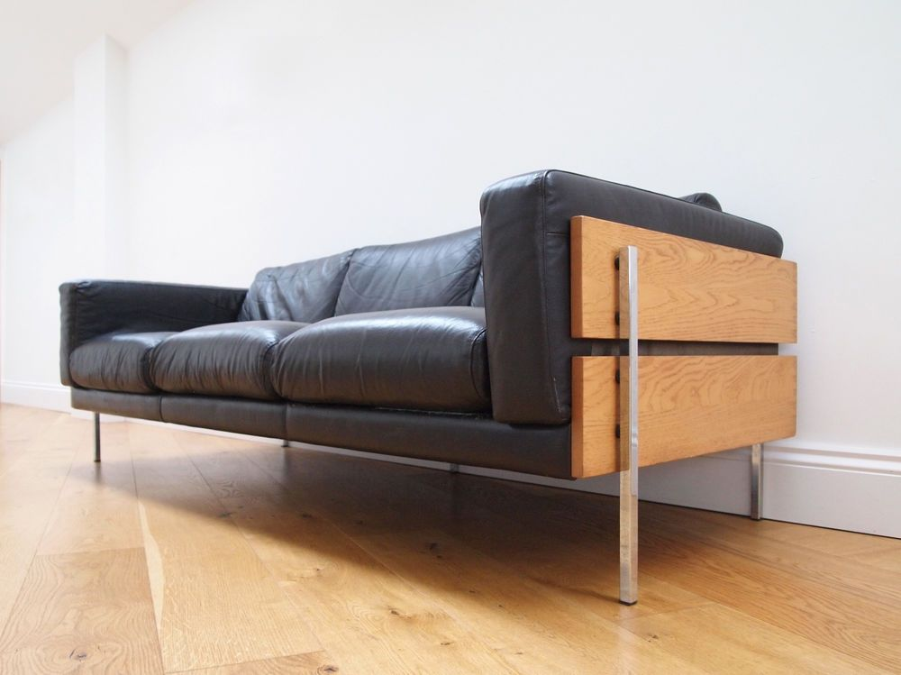 Details About Habitat Leather 3 Seater Sofa Forum By Robin Day