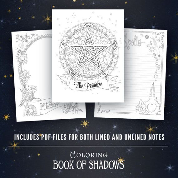 Coloring Book Of Shadows Vol 1 5 Printable Pdf Grimoire Etsy Book Of Shadows Coloring Books Name Coloring Pages