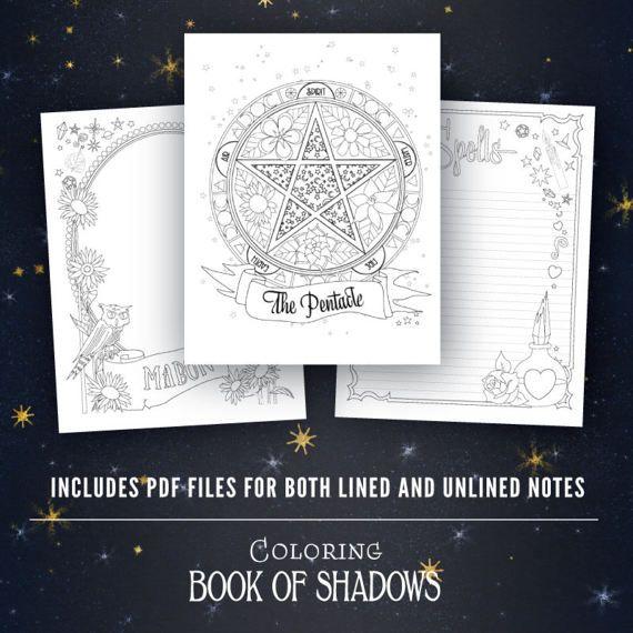 Coloring Book Of Shadows Vol 1 5 Printable Pdf Grimoire Etsy Book Of Shadows Coloring Books Hand Art Drawing