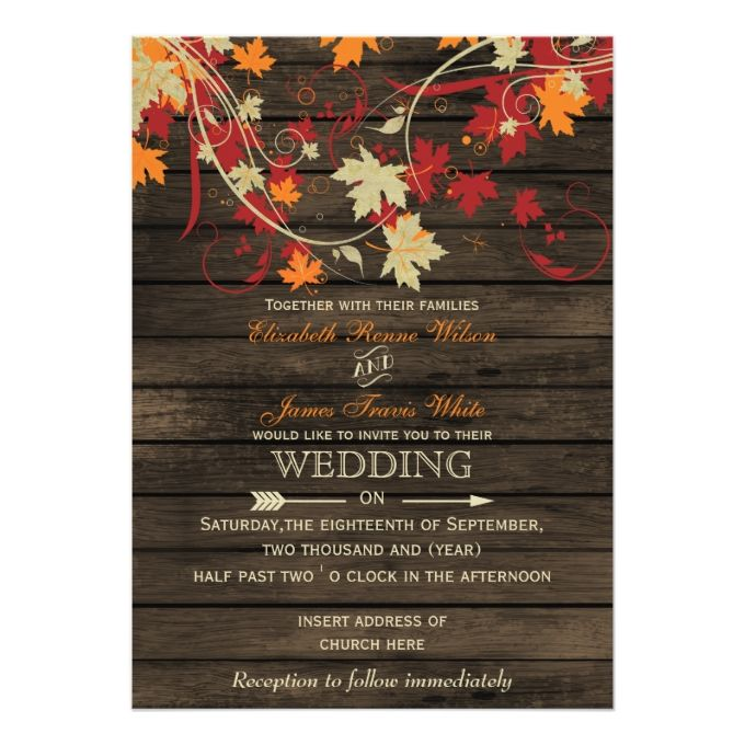 Barn Wood Rustic Fall Leaves Wedding Invitations Zazzle