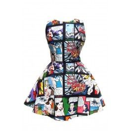 Comic Strip Skater Dress Black #hemet #comic #strip #skater #dress #black #rebel #rebelcircus