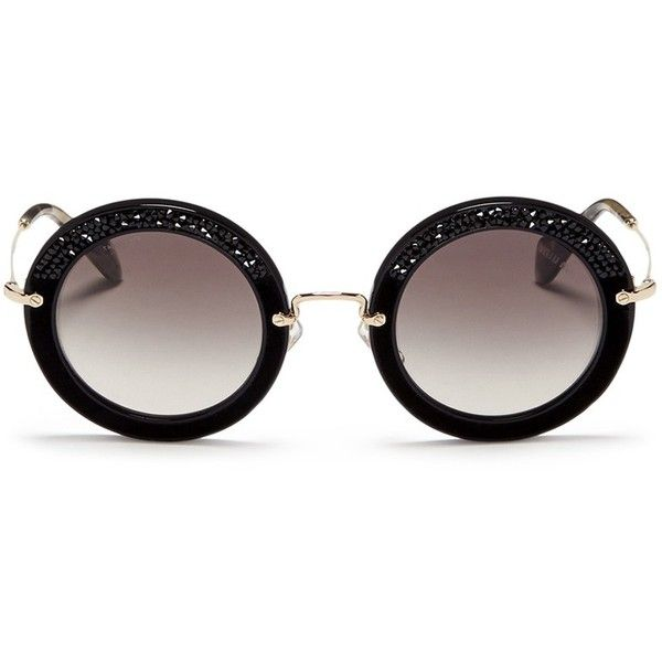 d41eda1e3fda Miu Miu 'Noir' crystal embellishment suede rim acetate round... ($330
