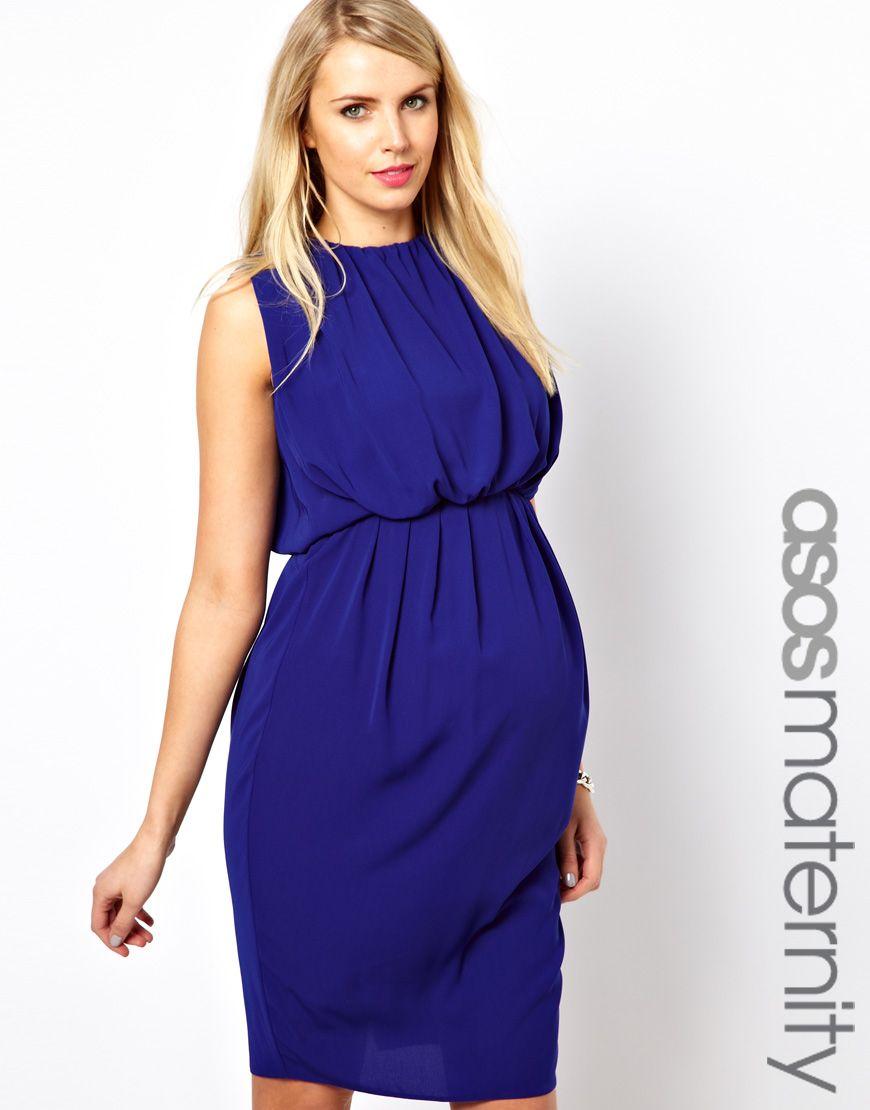 Vestido a media pierna con detalle fruncido de ASOS Maternity. Color ...