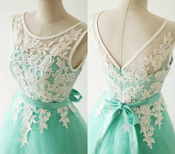 Dress Turquoise Prom Short Tail With White Lace Homecoming