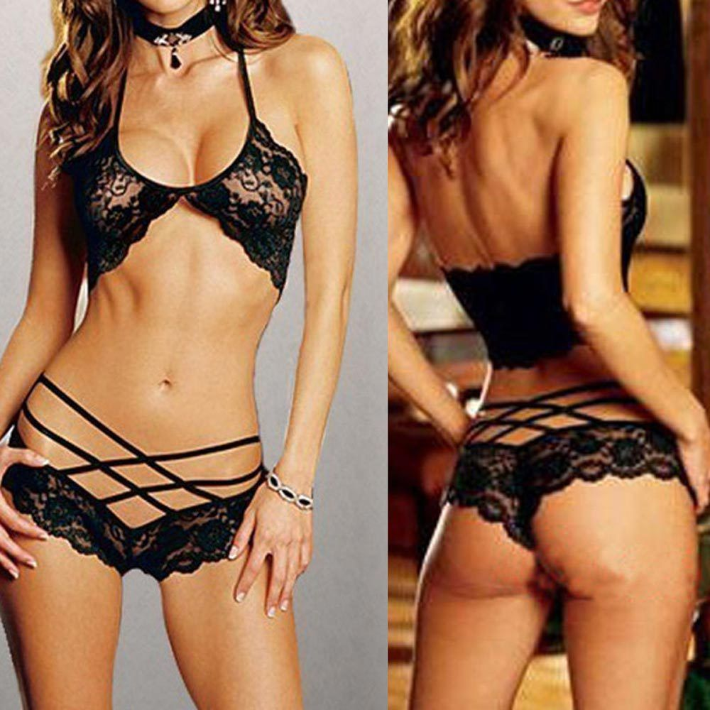 5ae8b6a6663e Buy from china:HOT SALE Free shipping Sexy Woman Lace Sleepwear Halter Underwear  Lingerie G-string Black #TAE
