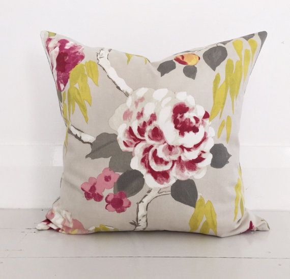 Summer roses pink & natural linen cushion cover - designer cushion 50 x 50 cm - FREE SHIPPING Australia wide