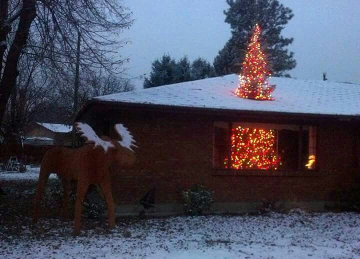 This Is A Great Gag Tree Thru Roof Christmas House Lights Christmas Tree Through Roof Christmas Tree