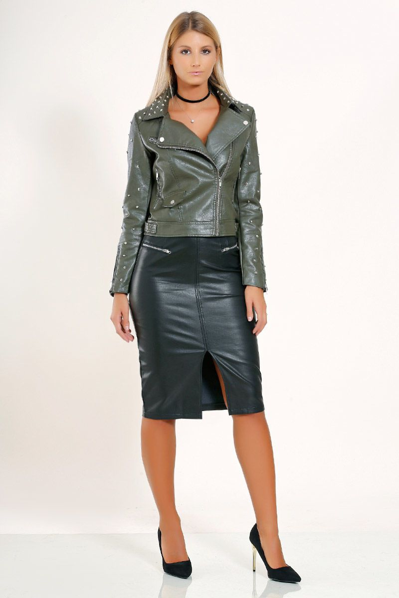 Green leather moto jacket and black leather pencil skirt Womens Leather  Skirt, Leather Dresses, 1c9bc3b089