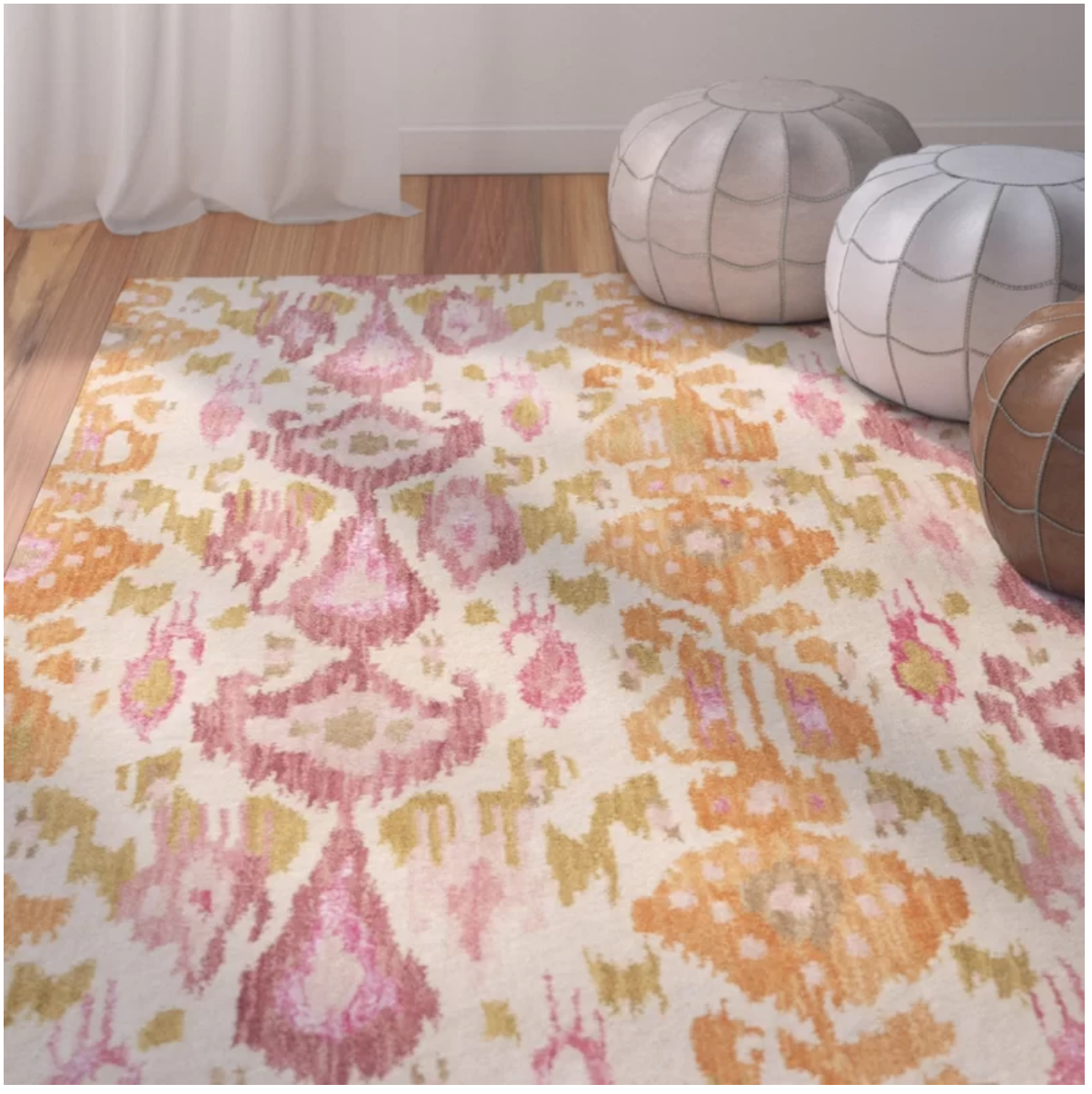 Godbey Hand Tufted Wool Pastel Pink Area Rug Pink Area Rug Area Rugs Suzani Area Rug