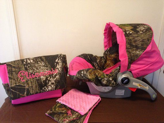 3 Piece Set MOSSY OAK CAMO Fabric Infant Car Seat Cover With Canopy And Diaper Bag Huggy Blanket