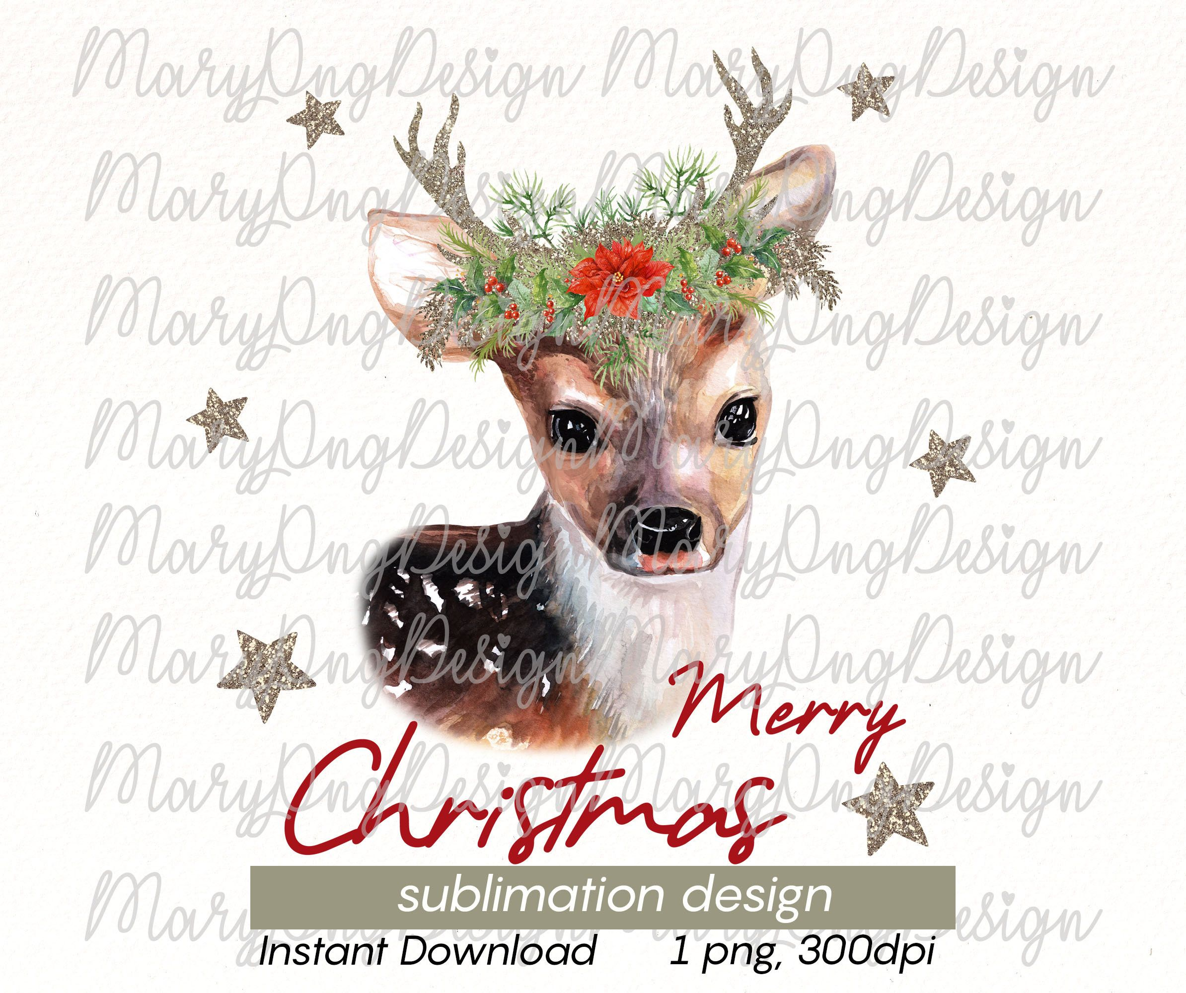 Christmas Deer Png Design Watercolor Holiday Reindeer For Etsy Watercolor Clipart Clip Art Watercolor Animals