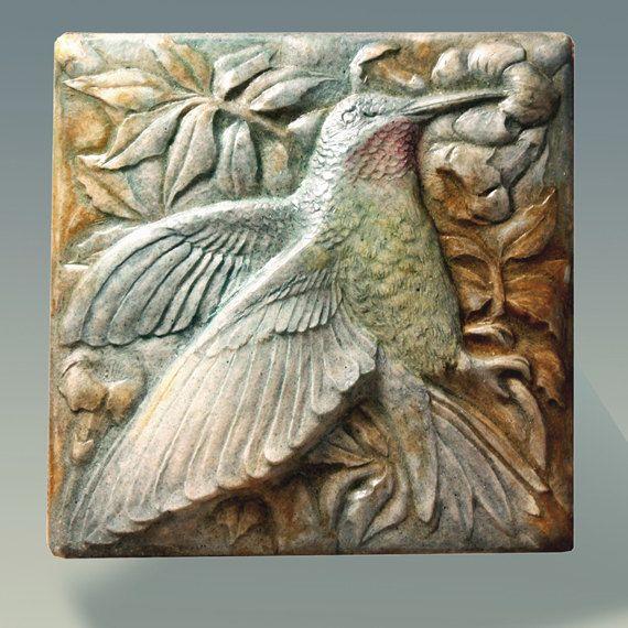 Hummingbird Art Tile, Nature, Sculpture, Wall Art ...
