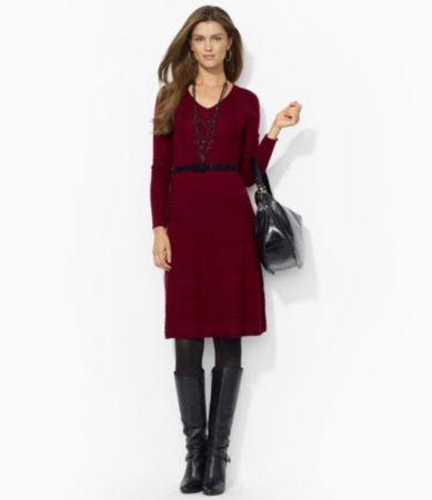 Lauren Ralph Lauren Belted V-Neck Dress   Dillards.com