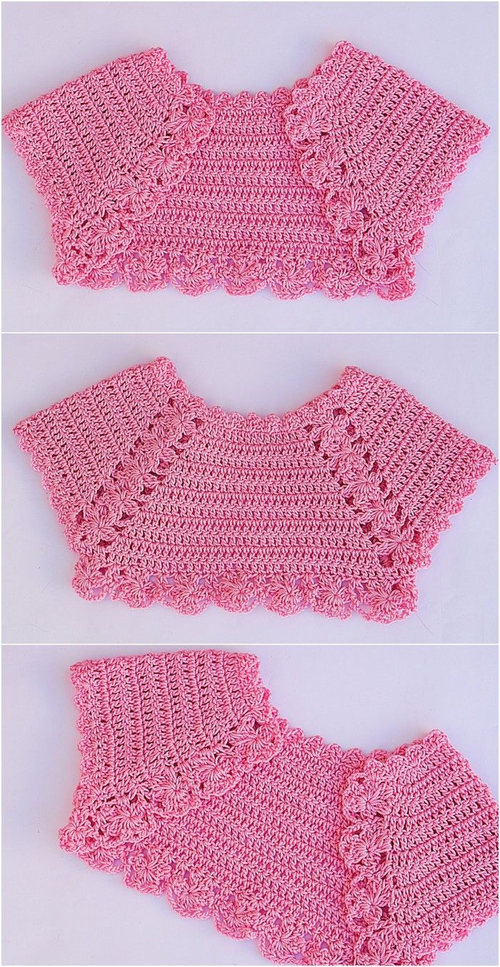half Vest Free Crochet Pattern #vestidosparabebédeganchillo