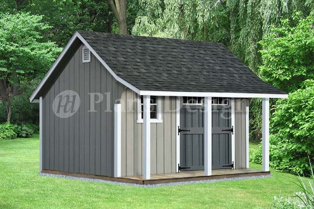 Garage With Storage Free Materials List: 14' X 12' Backyard Storage Shed With Porch Plans #P81412
