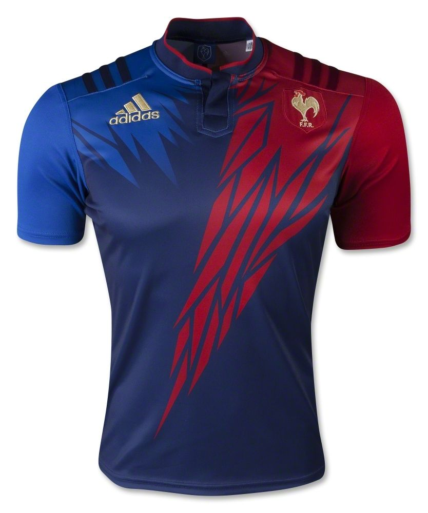 France Rugby Sevens 2014 15 Adidas Home Shirt Rugby Shirt Watch In 2020 Sport Shirt Design Sports Jersey Design Rugby Jersey Design