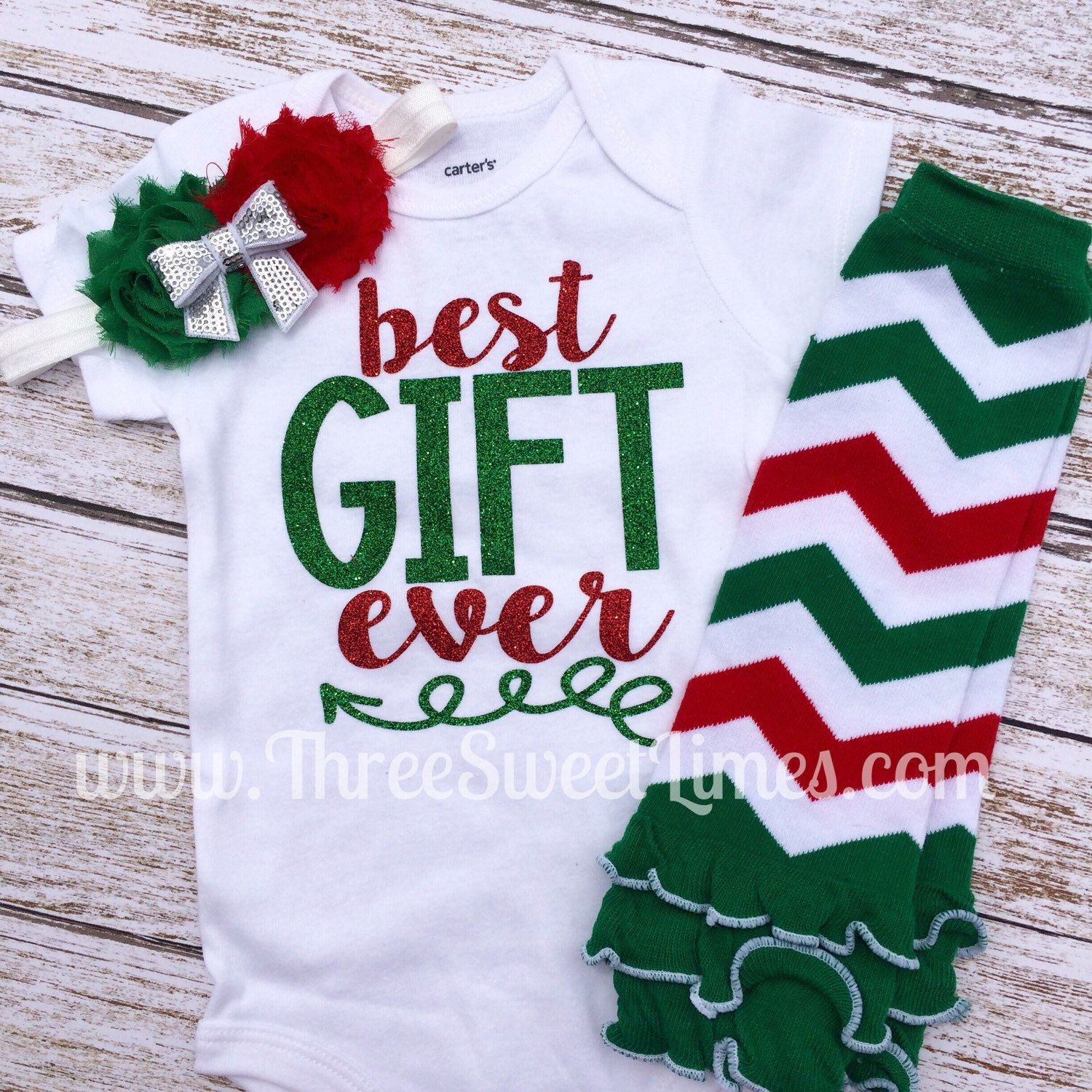 4b5b7a1e0bea Best gift ever custom onesie set! Baby s First Christmas. Leg ...
