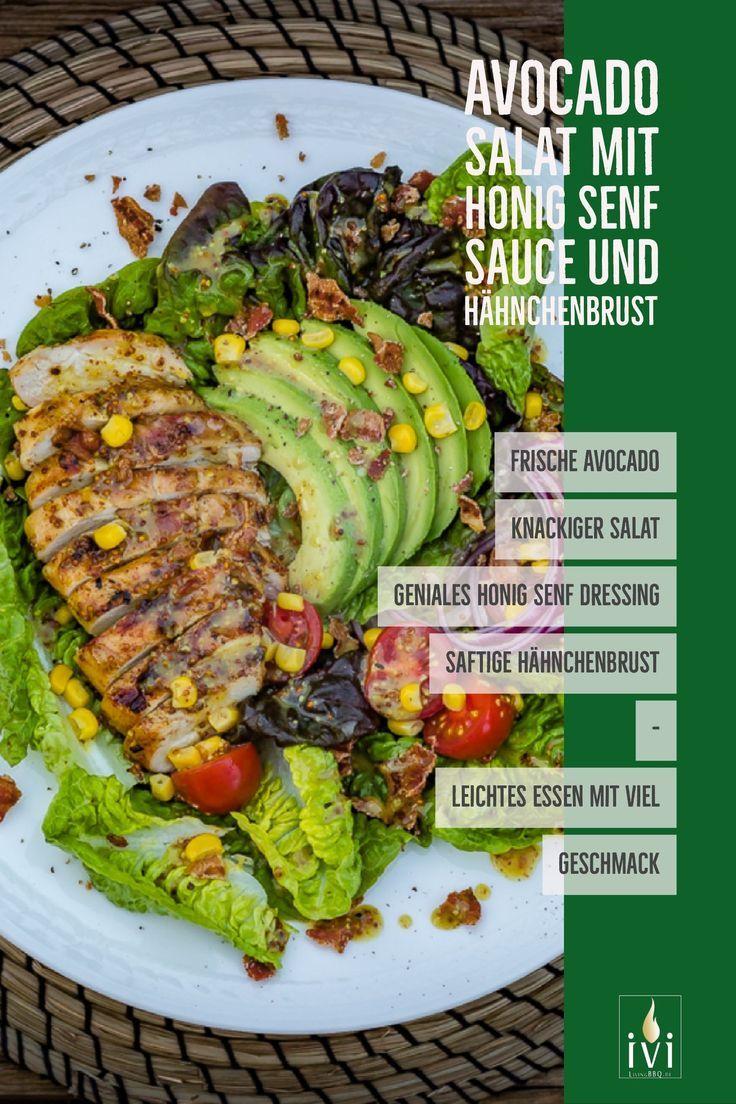 Hähnchenbrustfilet mit Honig-Senf-Sauce auf Avocado-Bacon-Salat   LivingBBQ.de