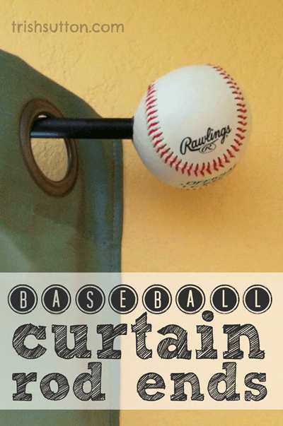 DIY Baseball Curtain Rod Ends Are The Perfect Touch For Sports Theme Bedrooms Playrooms Game Rooms And A Simple Project