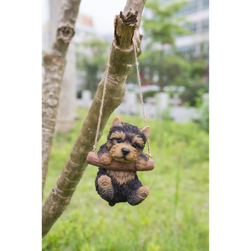 Hi Line Gift Ltd Hanging Yorkshire Terrier Puppy Statue