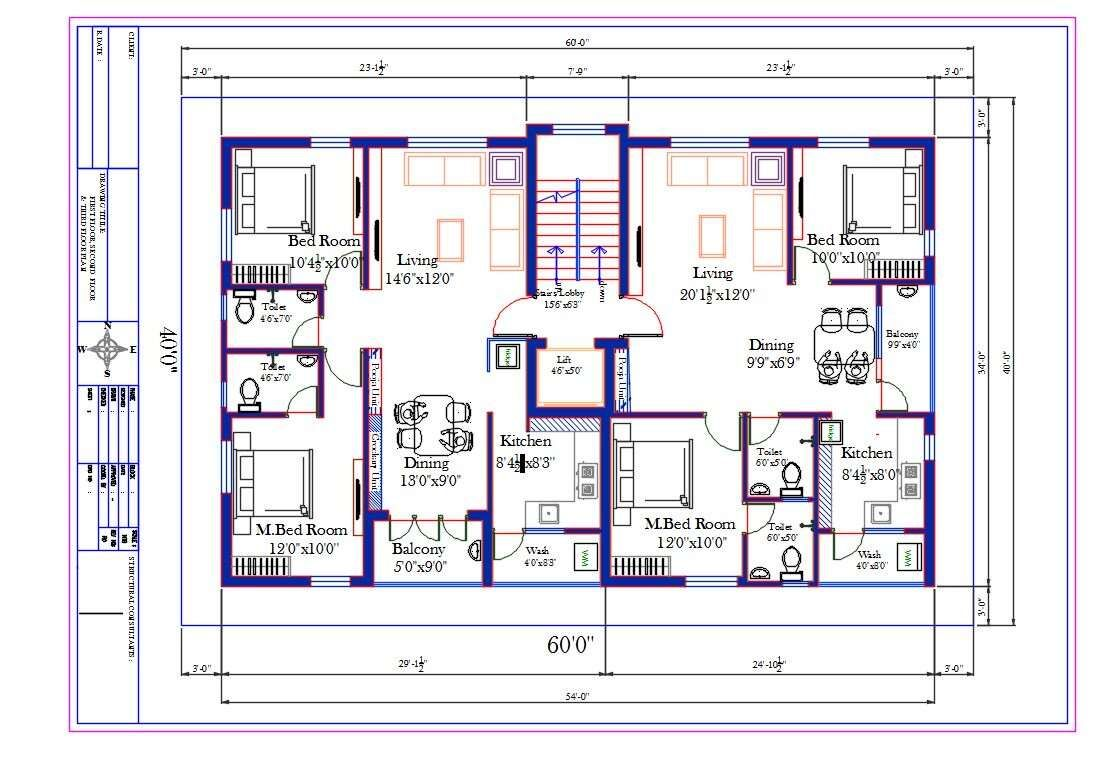 60X40 Ft Apartment 2 BHK House Furniture Layout Plan