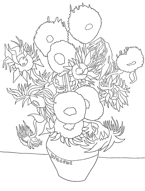 Colouring Page Vincent Van Gogh Sunflowers Van Gogh Kunst Van Gogh Zonnebloemen Van Gogh