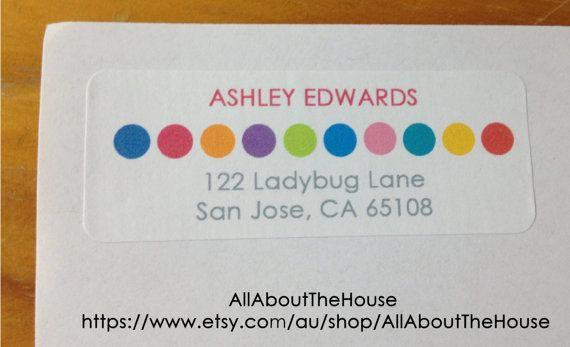 printable rainbow address label return address sticker avery 5160 compatible personalised rectangle custom diy printable digital