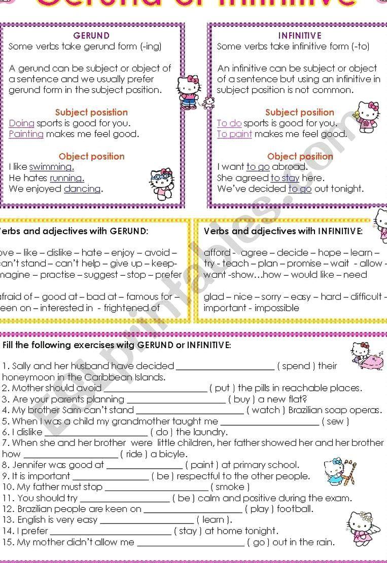 Gerund And Infinitive Worksheet Grammar Worksheets Learn English Words English Grammar Worksheets