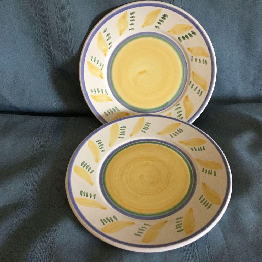 2 Williams-Sonoma Tournesol 9 1/2\  Salad Plates Italy Check Back & 2 Williams-Sonoma Tournesol 9 1/2\