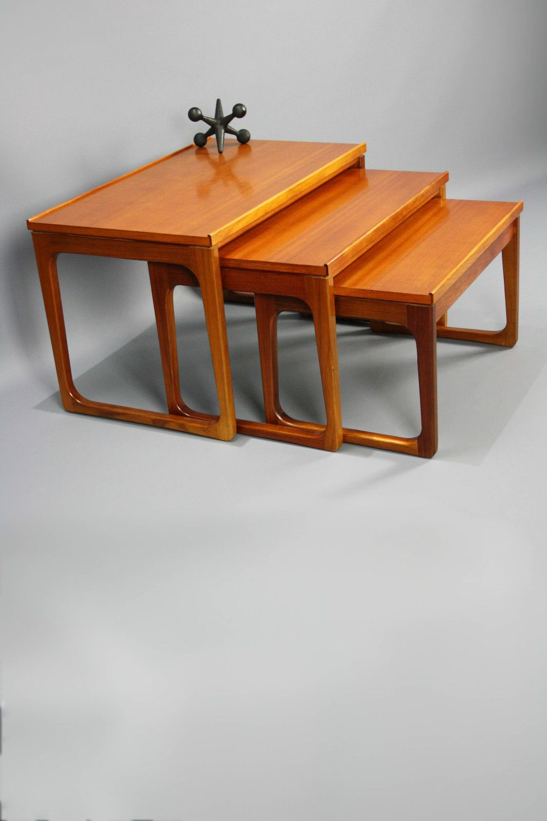 Mid Century Nest Of Coffee Tables Gerald Easden Module Sleigh Legs Retro Vintage Danish In Vic Ebay
