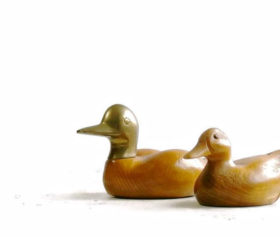 Two Vintage Duck Figurines Wooden Decor Hand Carved Wood Ducks