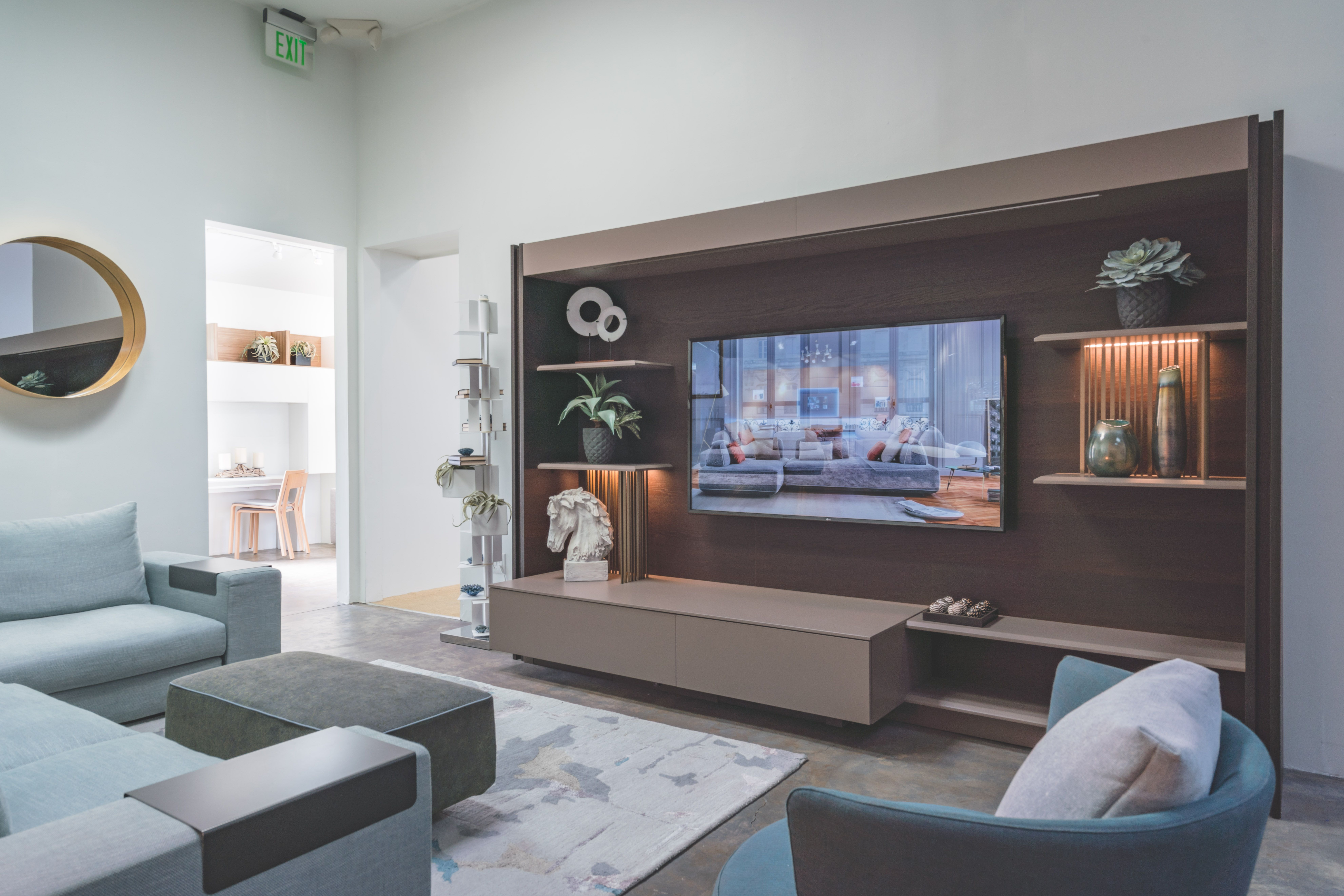 Triplo Cinema Is A State Of The Art Shelving And Media Unit With A Big Secret A Cleverly Concealed Larg Resource Furniture Furniture Offers Wall Bed Systems