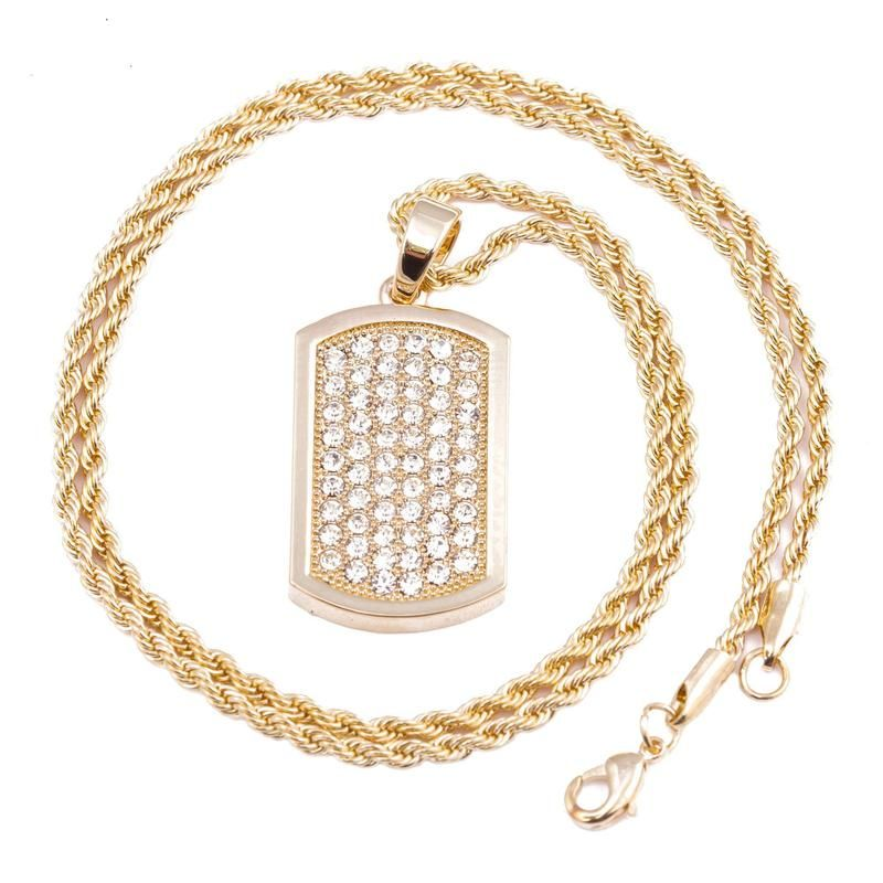 da123a8834331 Men's Gold Plated Dog Tag Micro Pendant Iced Out Iron Rope Chain 3mm ...