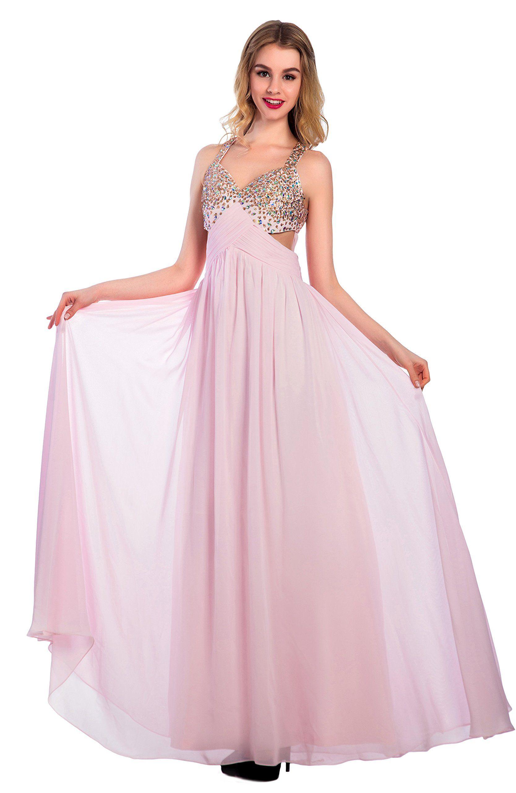 Kiss rain womenus long chiffon crystal prom dresses formal evening